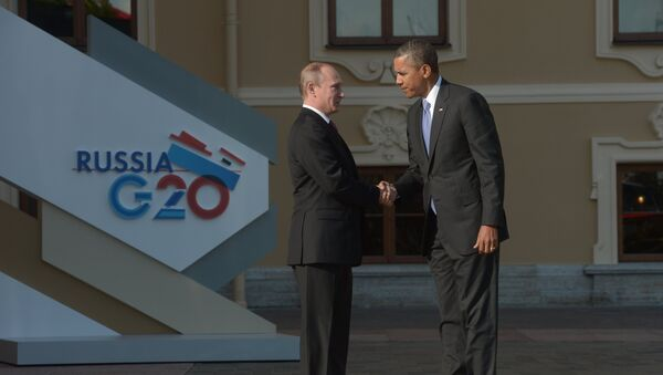 Russian President Vladimir Putin, left, and President of the United States of America Barack Obama during the official welcome of heads of delegations of G20 member states, invited countries, and international organizations. File photo - Sputnik International