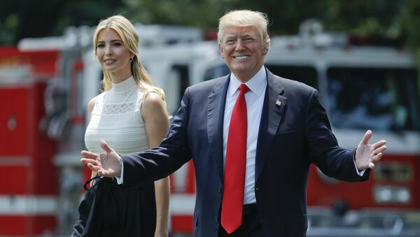 President Donald Trump gestures as he walks with his daughter Ivanka Trump across the South Lawn of the White House in Washington - Sputnik International