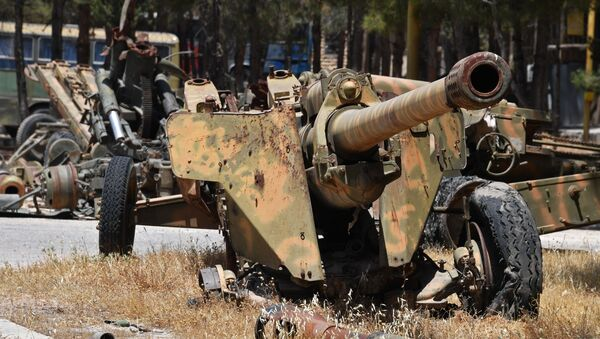 Weapons that need replacement of gun barrels at the artillery weapon, mortar and small arms repair works in Hama province, Syria - Sputnik International