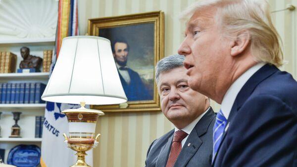 Ukrainian President Petro Poroshenko, left, and US President Donald Trump during their meeting - Sputnik International