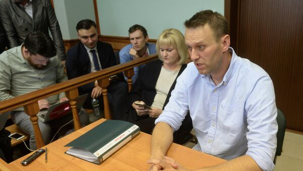 Alexei Navalny is seen here in Moscow City Court which considered his complaint over a 30 day administrative arrest for organizing an unauthorized rally in Moscow - Sputnik International