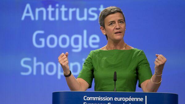 European Union Commissioner for Competition Margrethe Vestager speaks during a media conference at EU headquarters in Brussels on Tuesday, June 27, 2017. - Sputnik International