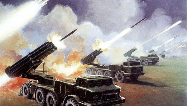 The Soviet 16-tube, 220-mm BM-27 multiple rocket launcher Uragan. Illustration found in a 1980s-vintage 'Soviet Military Power' report released by the Pentagon - Sputnik International