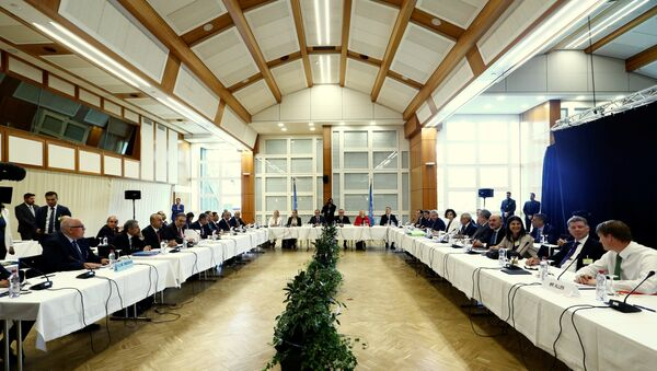 Overview at the start of the peace talks on divided Cyprus, under the supervision of the United Nations in the alpine resort of Crans-Montana, Switzerland June 28, 2017 - Sputnik International