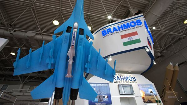 A scale model of the BrahMos missile on display at the 2017 International Maritime Defense Show in St. Petersburg. File photo - Sputnik International