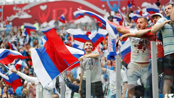 Soccer Football - Russia v New Zealand - FIFA Confederations Cup Russia 2017 - Group A - Saint Petersburg Stadium, St.Petersburg, Russia - June 17, 2017 Russia fans celebrate after the match - Sputnik International