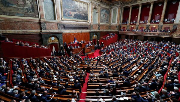 French President Emmanuel Macron delivers a speech during a special congress gathering both houses of parliament (National Assembly and Senate) at the Versailles Palace, near Paris, France, July 3, 2017. - Sputnik International