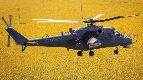 Mi 35M helicopters on training flights in Krasnodar Territory - Sputnik International