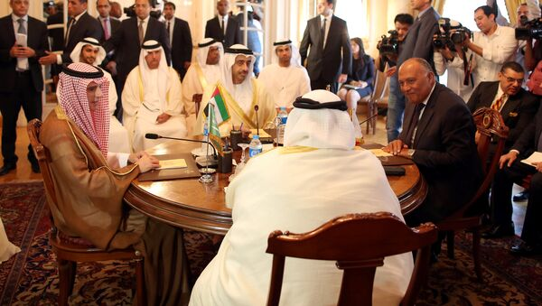 Saudi Foreign Minister Adel al-Jubeir (2-L), UAE Foreign Minister Abdullah bin Zayed al-Nahyan (L), Egyptian Foreign Minister Sameh Shoukry (R), and Bahraini Foreign Minister Khalid bin Ahmed al-Khalifa (2-R) meet to discuss the diplomatic situation with Qatar, in Cairo, Egypt, July, 5 2017 - Sputnik International