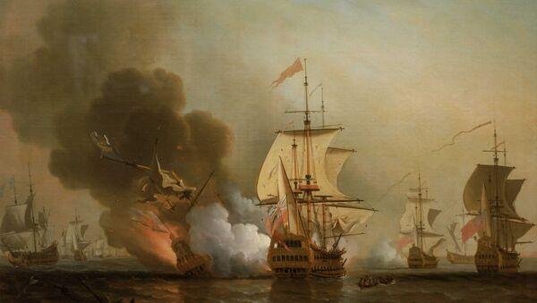 Explosion of San José during Wager's Action. Oil on canvas by Samuel Scott - Sputnik International