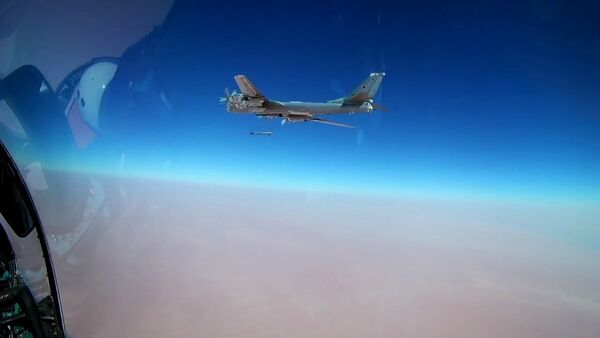 A Tu-95MS bomber launches a Kh-101 cruise missile at the ISIS facilities (Islamic State, an international terrorist organization banned in the Russian Federation) in Syria - Sputnik International