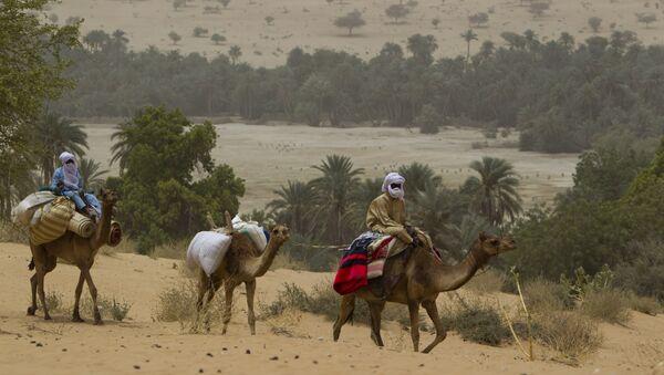 Men on camelback transport goods from a town as they return towards Barrah, a desert village in the Sahel belt of Chad, Friday, April 20, 2012 - Sputnik International