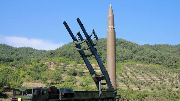 The intercontinental ballistic missile Hwasong-14 is seen in this undated photo released by North Korea's Korean Central News Agency (KCNA) in Pyongyang July 5, 2017. Earlier this month, intelligence experts said they believed Ukrainian aerospace companies may have engaged in the transfer of missile technology to Pyongyang. - Sputnik International