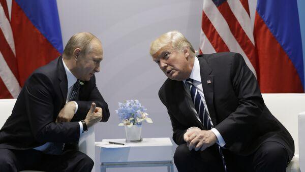 President Donald Trump meets with Russian President Vladimir Putin at the G20 Summit, Friday, July 7, 2017, in Hamburg - Sputnik International
