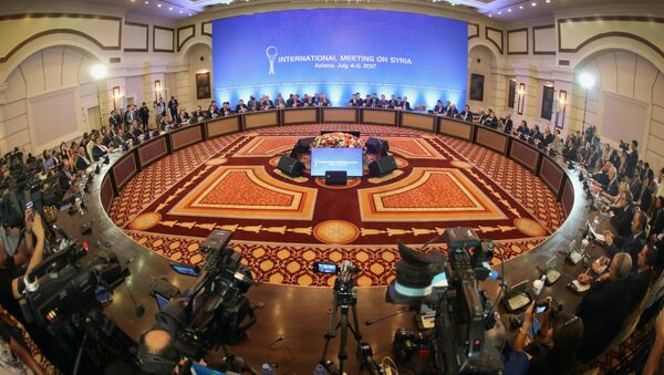 A picture shows a general view during a fifth round of Syria peace talks on July 5, 2017, in Astana - Sputnik International