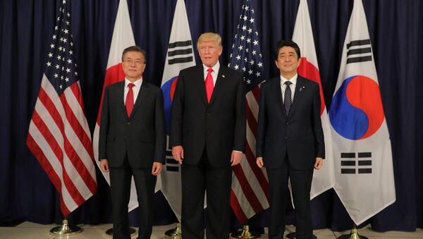 U.S. President Donald Trump meets South Korea's President Moon Jae-In and Japanese Prime Minister Shinzo Abe ahead the G20 leaders summit in Hamburg, Germany July 6, 2017 - Sputnik International