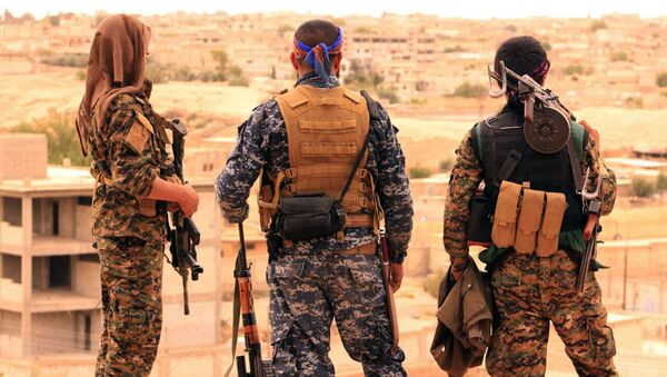 Syrian Democratic Forces (SDF), shows fighters from the SDF looking toward the northern town of Tabqa, Syria (File) - Sputnik International