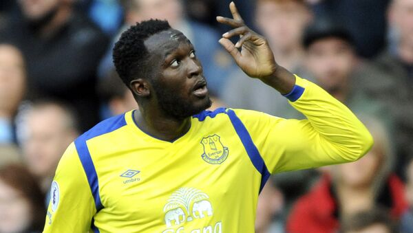In this Saturday, Oct. 15, 2016 file photo, Everton's Romelu Lukaku celebrates after scoring during the English Premier League soccer match between Manchester City and Everton at the Etihad Stadium in Manchester, England.  - Sputnik International