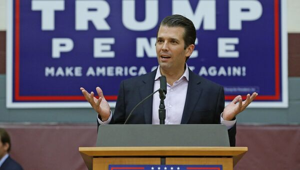 Donald Trump Jr. speaks at a campaign rally for his father, Republican presidential candidate Donald Trump, at Arizona State University Thursday, Oct. 27, 2016, in Tempe, Ariz. - Sputnik International