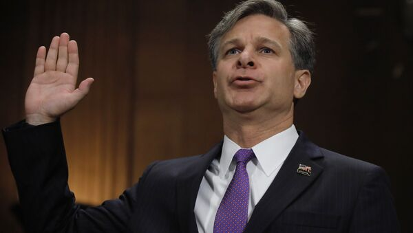 Christopher Wray is sworn in prior to testifying before a Senate Judiciary Committee confirmation hearing on his nomination to be the next FBI director on Capitol Hill in Washington, U.S., July 12, 2017. - Sputnik International