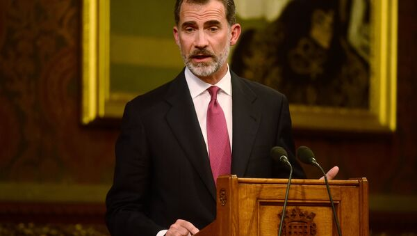 Spain's King Felipe delivers a speech at the Palace of Westminster in London, Britain July 12, 2017. - Sputnik International