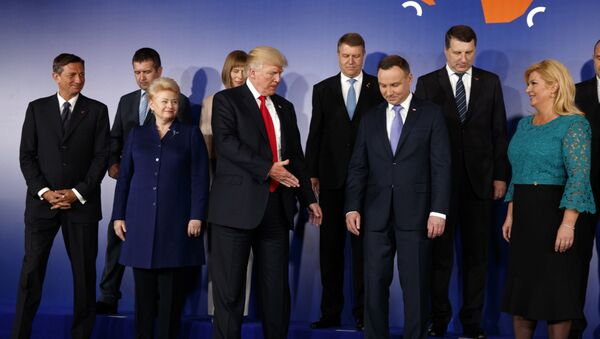U.S President Donald Trump, center, participates in a group photo prior to the Three Seas Initiative transatlantic roundtable in the Great Assembly Hall of the Royal Castle, in Warsaw, Thursday July 6, 2017 - Sputnik International