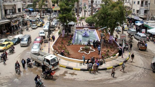 A picture taken on May 24, 2017 shows a general view of a square in the northern Syrian city of Idlib - Sputnik International