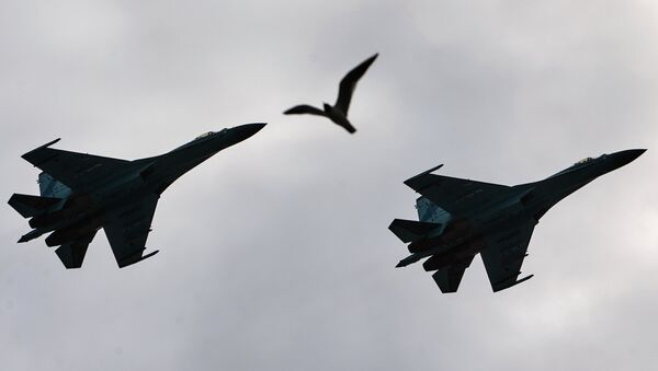 Su-27 Flanker fighters fly over Palace Square in during a rehearsal of the Victory Parade in St. Petersburg - Sputnik International