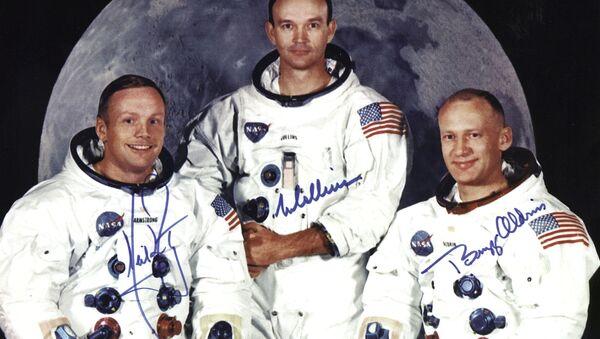 the crew of the Apollo 11 lunar landing mission L-R Neil Armstrong, commander, Michael Collins, command module pilot and Edwin E. Aldrin Jr, lunar module pilot, 01 May 1969. - Sputnik International
