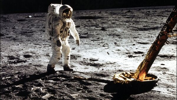This photo taken 20 July 1969 of astronaut Edwin Buzz E. Aldrin Jr., lunar module pilot walking on the surface of the moon near the leg of the Lunar Module (ML) Eagle during the Apollo 11 extravehicular activity (EVA). Astronaut Neil A. Armstrong took this photograph with a 70mm lunar surface camera. - Sputnik International