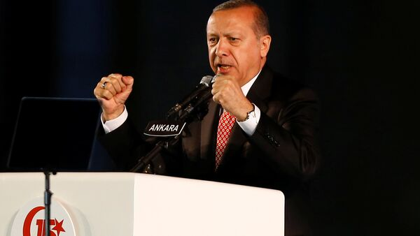Turkey's President Tayyip Erdogan addresses his supporters during a ceremony marking the first anniversary of the attempted coup in front of the Turkish Parliament in Ankara, Turkey July 16, 2017. - Sputnik International