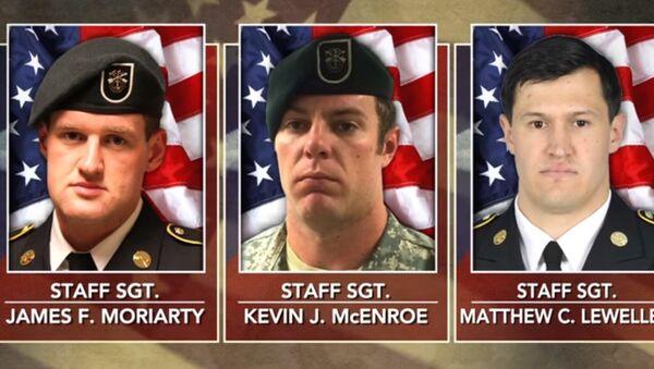 Staff Sgt. Kevin J. McEnroe, Staff Sgt. Matthew C. Lewellen and Staff Sgt. James F. Moriarty. Three US Green Berets killed by a Jordanian soldiers. - Sputnik International
