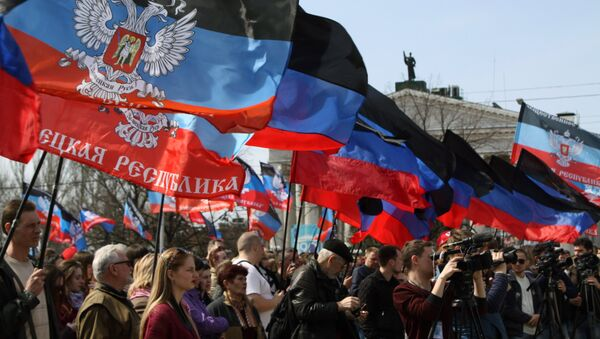 Rally in Donetsk marks anniversary of Donetsk People's Republic - Sputnik International