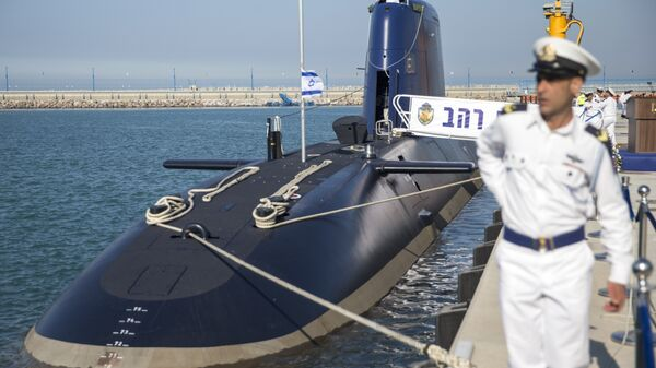 The German-made INS Rahav, the fifth Israeli Navy submarine, arrives at the military port of Haifa on January 12, 2016. In September 2015, Israel received delivery of the fourth Dolphin 2 class submarines from Germany. A third of the cost was funded by Germany as part of its military aid to Israel. The submarines, the most sophisticated in Israel's fleet, can be equipped with missiles armed with nuclear warheads. - Sputnik International