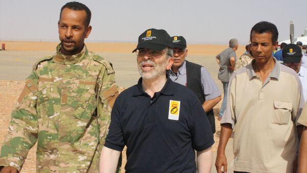 Mustafa Sanalla, chairman of Libya's National Oil Corporation, arrives at Sharara oil field near Ubari, Libya, July 6, 2017 - Sputnik International