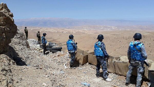 Fighters from the Syrian army units and Hezbollah are seen on the western mountains of Qalamoun, near Damascus, in this handout picture provided by SANA on July 23, 2017, Syria - Sputnik International