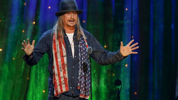 Kid Rock inducts rock band Cheap Trick at the 31st annual Rock and Roll Hall of Fame Induction Ceremony at the Barclays Center in Brooklyn, New York, US on April 8, 2016. - Sputnik International