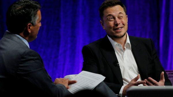 Tesla Motors CEO Elon Musk (R) answers questions from Nevada Governor Brian Sandoval during the National Governors Association Summer Meeting in Providence, Rhode Island, U.S., July 15, 2017. - Sputnik International