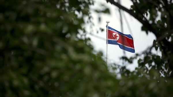 The North Korean flag flies above the North Korean Embassy in Beijing - Sputnik International
