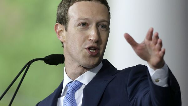 In this May 25, 2017, file photo, Facebook CEO and Harvard dropout Mark Zuckerberg delivers the commencement address at Harvard University commencement exercises in Cambridge, Mass. - Sputnik International