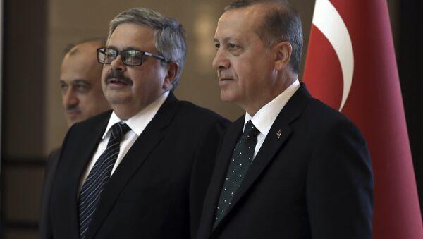 Turkey's President Recep Tayyip Erdogan, right, speaks with the new Russian Ambassador to Turkey, Alexei Yerkhov, as he submits his credentials, in Ankara, Turkey - Sputnik International