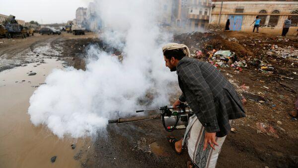 A public health worker sprays insecticide, amid a cholera outbreak, in Sanaa, Yemen, July 26, 2017. - Sputnik International