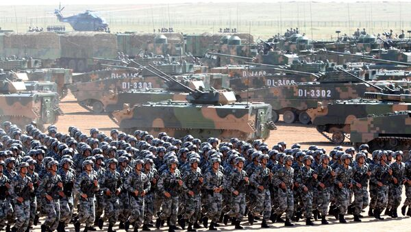 Soldiers of China's People's Liberation Army (PLA) take part in a military parade to commemorate the 90th anniversary of the foundation of the army at the Zhurihe military training base in Inner Mongolia Autonomous Region, China, July 30, 2017 - Sputnik International