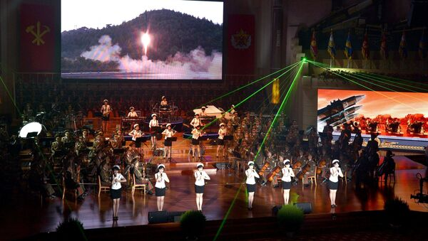 The Central Committee and the Central Military Commission of the Workers' Party of Korea hold a banquet at the Mokran House in celebration of the second successful test-fire of intercontinental ballistic missiles (ICBM) Hwasong-14, in this undated picture provided by KCNA in Pyongyang on July 30, 2017 - Sputnik International