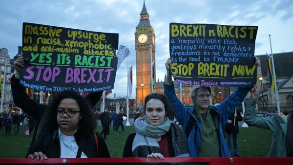 Protesters hold up anti-Brexit placards as they take part in a protest in support of an amendment to guarantee legal status of EU citizens, outside the Houses of Parliament in London on March 13, 2017 - Sputnik International