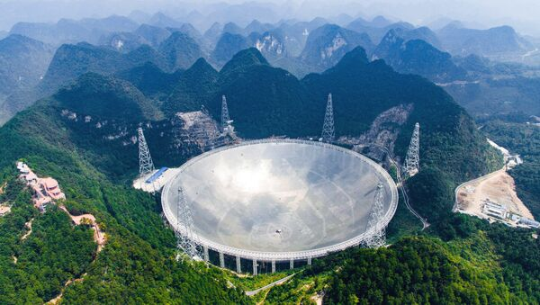 World's largest telescope. Five-hundred-meter Aperture Spherical Telescope (FAST) in the remote Pingtang county in southwest China's Guizhou province. - Sputnik International