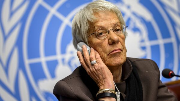 This file photo taken on March 17, 2015 shows Member of the United Nations (UN) Commission of Inquiry on Syria, Carla del Ponte attending a press conference in Geneva - Sputnik International