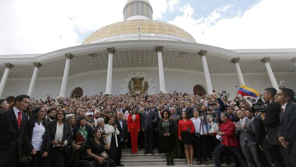 Venezuela's Constituent Assembly poses for an official photo after being sworn in, at Venezuela's National Assembly in Caracas, Venezuela, Friday, Aug. 4, 2017. Venezuelan President Nicolas Maduro is heading toward a showdown with his political foes, after seating a loyalist assembly that will rewrite the country's constitution and hold powers that override all other government branches. - Sputnik International