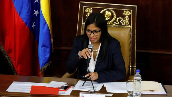 National Constituent Assembly President Delcy Rodriguez attends to one of its session in Caracas, Venezuela August 8, 2017 - Sputnik International