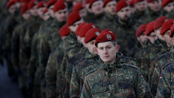 German Bundeswehr soldiers of the 122th Infantry Battalion take part in a farewell ceremony in Oberviechtach, Germany, Thursday, Jan. 19, 2017. - Sputnik International